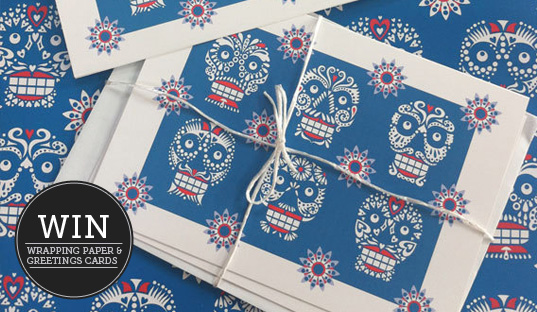 Monthly giveaway day of the dead skull pattern wrapping paper this month we are giving away free 3 high quality a5 greetings cards printed on re cycled card 3 sheets of my luxury wrapping paper printed on re cycled m4hsunfo