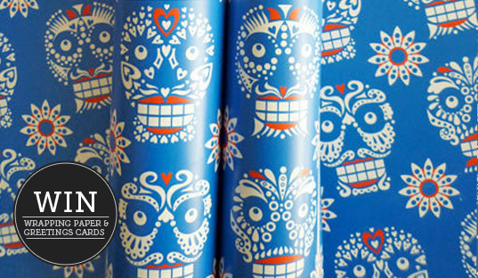 Monthly Giveaway! Day of the Dead Skull Pattern Wrapping Paper & Greetings Cards